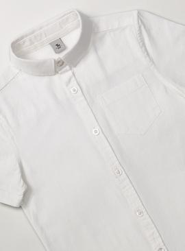 White Short Sleeve Formal Shirt With Linen