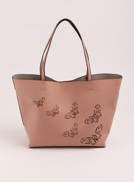 Pink Faux Leather Butterfly Tote Bag - One Size