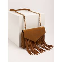 Tan Faux Suede Fringing Envelope Bag - One Size
