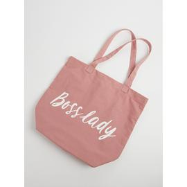 Pink 'Boss Lady' Canvas Bag - One Size