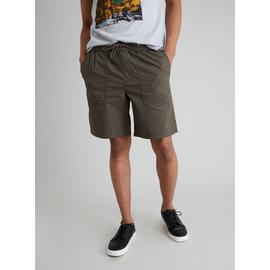 Khaki Pull On Poplin Shorts