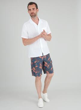 Navy Leaf Print Cargo Shorts