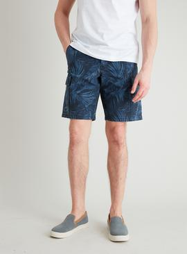 Blue Washed Palm Leaf Print Cargo Shorts