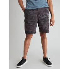 Washed Black & Grey Twill Cargo Shorts