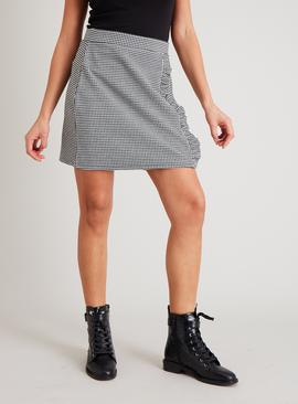 Monochrome Gingham Ruffle Mini Skirt