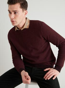 Oxblood Red Corn Stitch Crew Neck Jumper