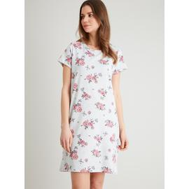 Grey & Pink Floral Print Short Sleeve Nightdress