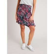 Pink & Purple Ditsy Floral Print Ruffle Skirt
