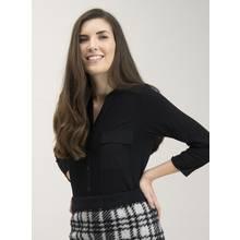 Black Jersey Collarless Button-Through Shirt