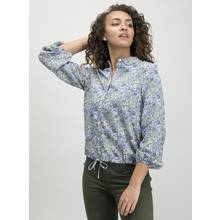 Blue Ditsy Floral Bubble Hem Shirt