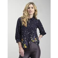 Navy Trailing Floral Print Blouse