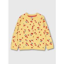 Yellow Cherry Print Button-Through Cardigan