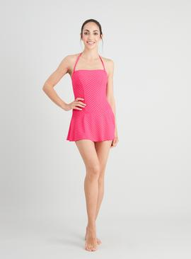 Pink Spot Skirted Swimsuit