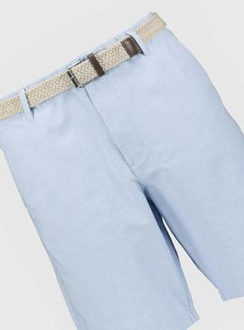 Pale Blue Belted Oxford Chino Shorts