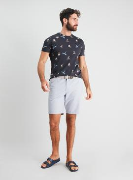 Grey Belted Oxford Chino Shorts
