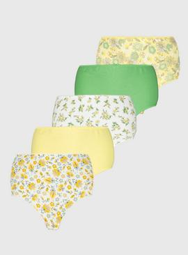 Yellow & Green Floral Print Full Knickers 5 Pack