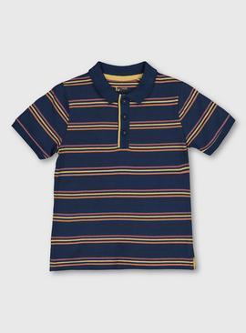Navy Stripy Faded Polo Shirt