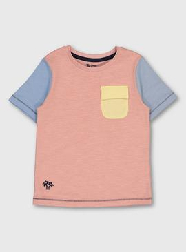 Pastel Colour Block Patch Pocket T-Shirt