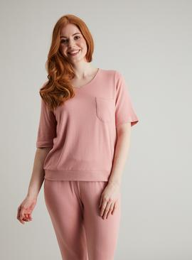 Dusky Pink Snit Loungewear Top & Bottoms