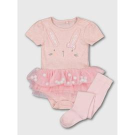 Pink Bunny Tutu Bodysuit & Tights Set
