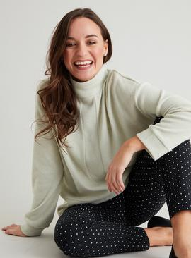 Pistachio Green Soft Touch Funnel Neck Sweater