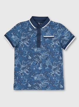 Blue Tropical Leaf Print Polo Shirt