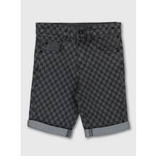 Grey Checkerboard Print Denim Shorts