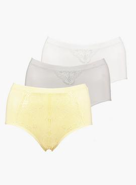 Pastel Lace Front Full Knickers 3 Pack