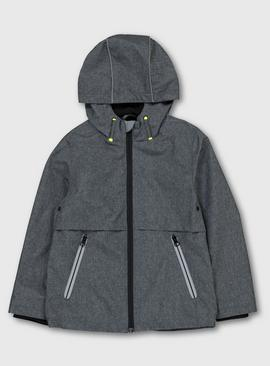 Grey Shower Resistant Hooded Mac