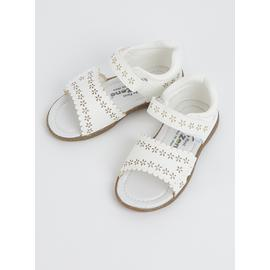 TOEZONE First Walkers White Laser Cut Sandals