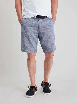 Blue Belted Chambray Linen-Rich Shorts