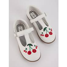 White Faux Leather Cherry Bumper Shoes