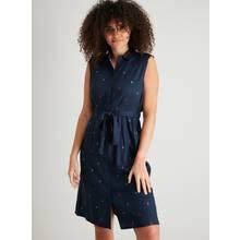 Navy Blue Sailboat Print Sleeveless Shirt Dress