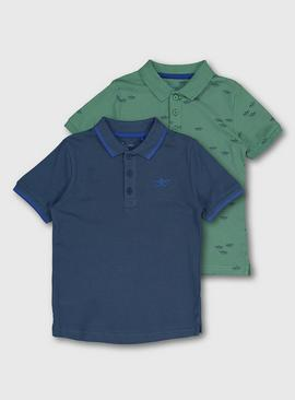Blue & Green Sailboat Polo Shirt 2 Pack