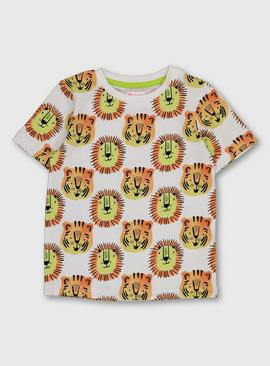 White & Orange Lion & Tiger T-Shirt
