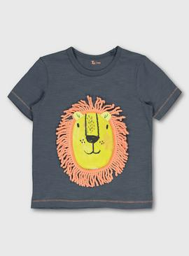 Grey Lion Appliqué Short Sleeve T-Shirt