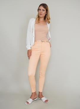 Light Peach Skinny Jeans With Belt