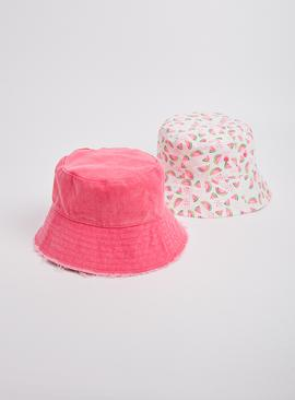 Neon Pink & Watermelon Bucket Hat 2 Pack