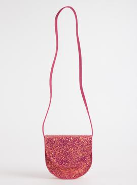 Pink Glitter Cross-Body Occasion Bag - One Size