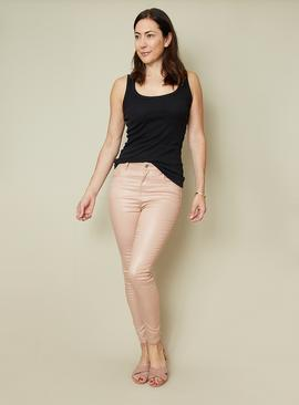 Pale Pink Gloss Finish Skinny Jeans