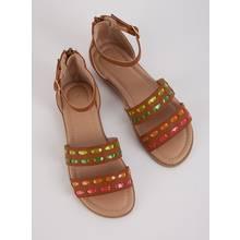 Light Brown Neon Detail Gladiator Sandals