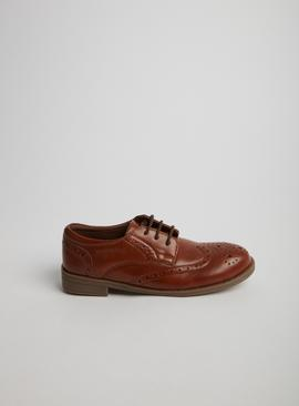 Tan Faux Leather Brogues