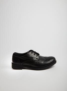 Black Faux Leather Brogues