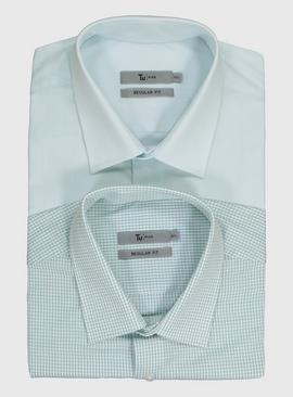 Green Plain & Check Regular Fit Short Sleeve Shirts 2 Packs