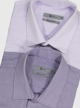 Purple Stripe & Check Regular Fit Short Sleeve Shirts 2 Pack