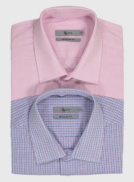 Pink Micro Dogtooth & Blue Check Regular Fit Short Sleeve Sh