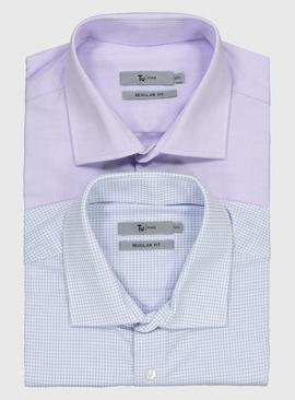 Lilac & Blue Oxford Regular Fit Long Sleeve Shirts 2 Pack
