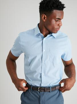 Blue & Sage Check Regular Fit Easy Iron Shirt