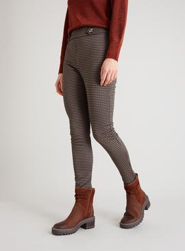 Brown & Black Houndstooth Leggings