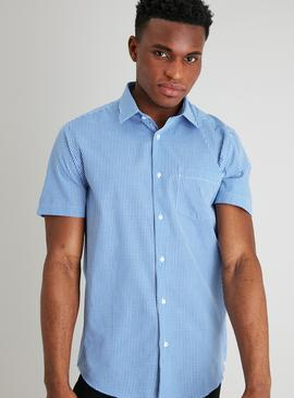 Blue Gingham Check Regular Fit Easy Iron Shirt